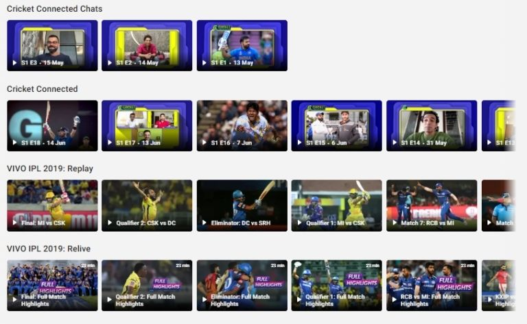 Sports- Cricket on Hotstar